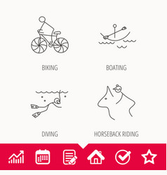 Diving biking and horseback riding icons vector