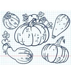 doodle pumkins set vector image
