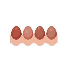 egg tray with brown fresh chicken eggs vector image