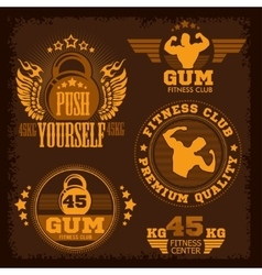 Fitness bodybuilding vintage label for flayer vector image