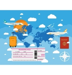 flying a plane to travel destination vector image