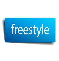 Freestyle blue paper sign on white background vector