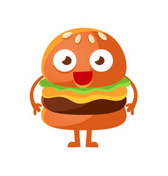 Funny burger with big eyes standing cute cartoon vector