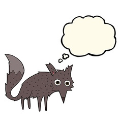 Funny cartoon little wolf with thought bubble vector