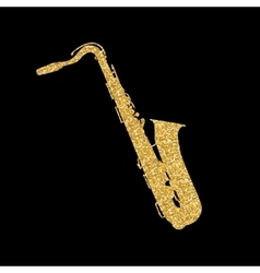 Gold Musical Instrument Saxophone that Plays Jazz vector image vector image