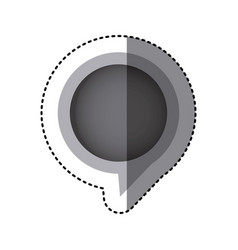 Grayscale sticker of circular speech with tail in vector