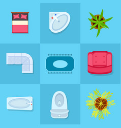 Home furniture colorful icons vector