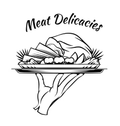 Meat Delicacies menu design element vector image