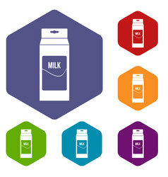 Milk icons set hexagon vector