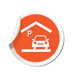 parking under roof icon orange sticker vector image vector image