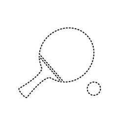 Ping pong paddle with ball black dashed vector