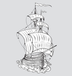 Tall ship line art vector