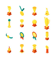 trophy cups awards icon set isometric view vector image