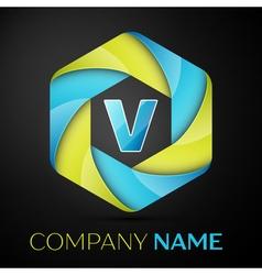 V letter colorful logo in the hexagonal on black vector