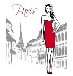 woman standing in Paris vector image vector image