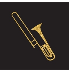 Brass instrument trombone which plays jazz music vector