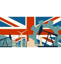 Energy and power icons set with britain flag vector