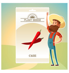 pack of chilli seeds icon vector image