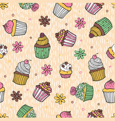 40 color cupcake seamless pattern vector