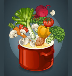 vegetable soup concept vector image