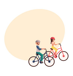 Young pretty woman riding bicycle cycling vector