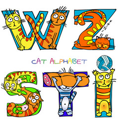 cat alphabet i s t w z vector image