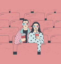 Trendy young couple in cinema fashionable guy and vector