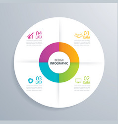 4 business circle infographic background template vector