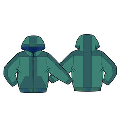 Hooded jacket with zip closure and pockets vector