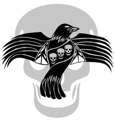 Black death crow flying on skull background vector