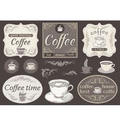 Set borders and cup of coffee vector