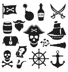 Set of objects and elements on pirate theme vector