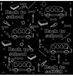 Cute school cartoon seamless pattern back to vector