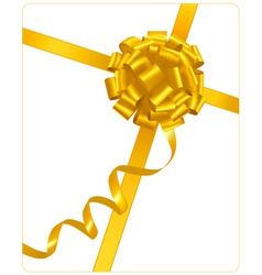 Gold holiday bow with ribbons vector