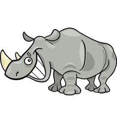 Cartoon illustration of funny african rhinoceros vector
