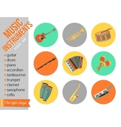 Set of music instruments flat style design vector