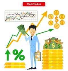 Stock trading concept flat style vector