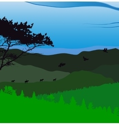 Image mountains landscape trees abstract eco vector