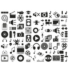 Sound video icons on white vector