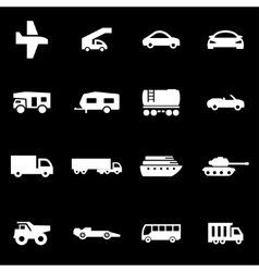 White vehicles icon set vector