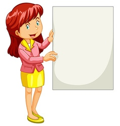 Woman holding empty poster vector