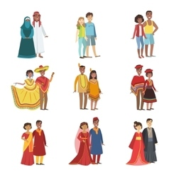 Couples in national clothes set vector