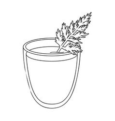 a glass with orange drink and a leafhealthy vector image