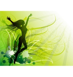 Bright Green Backdrop with a Silhouette of a Girl vector image vector image