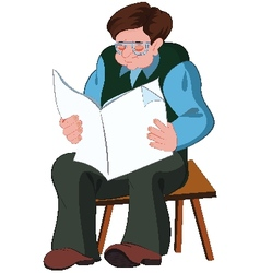 Cartoon old man reading newspaper vector