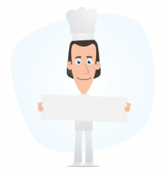 chef holds up a poster vector image vector image