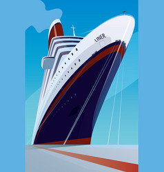 Cruise liner at the pier vector