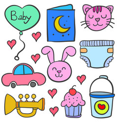 Doodle of element set baby theme vector