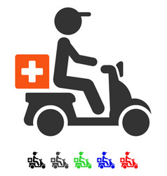 Drugs motorbike delivery flat icon vector