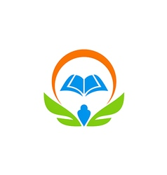 education book wing school learn logo vector image